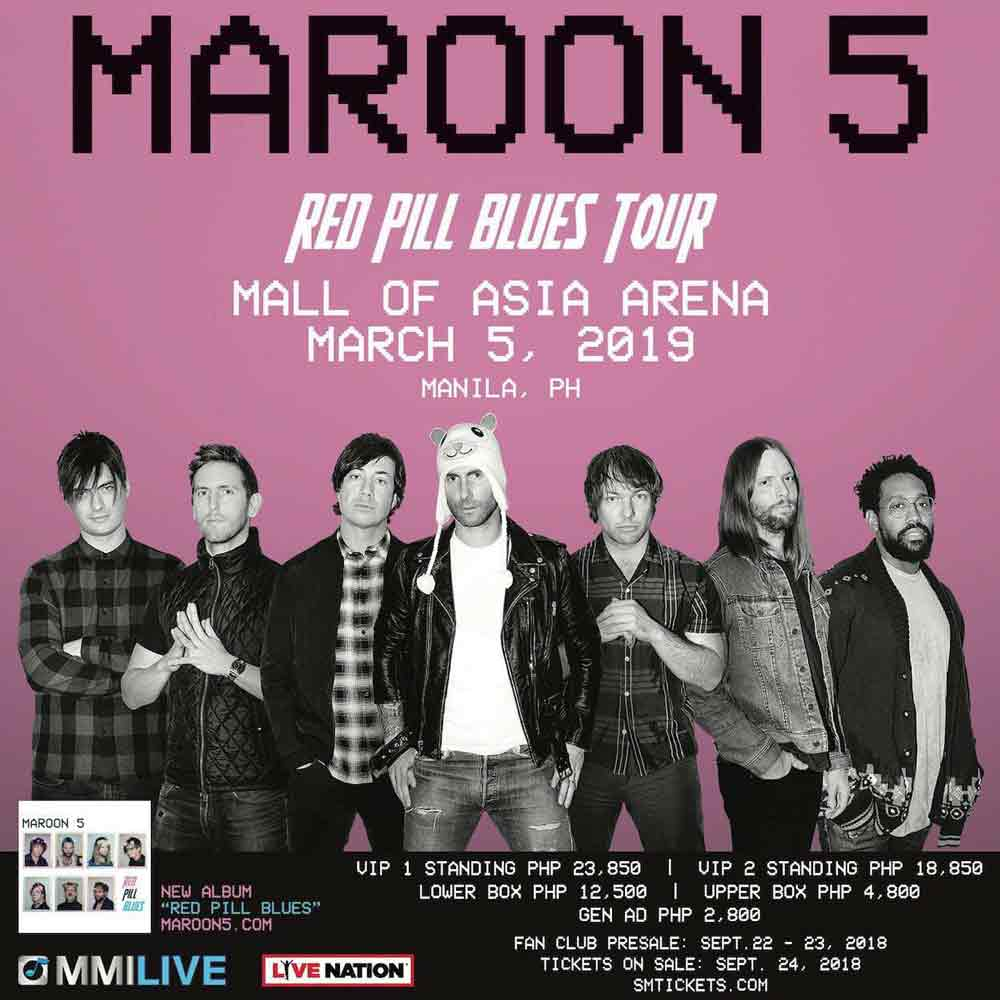 Maroon 5 poster for their Red Pill Blues Tour in manila in 2019.
