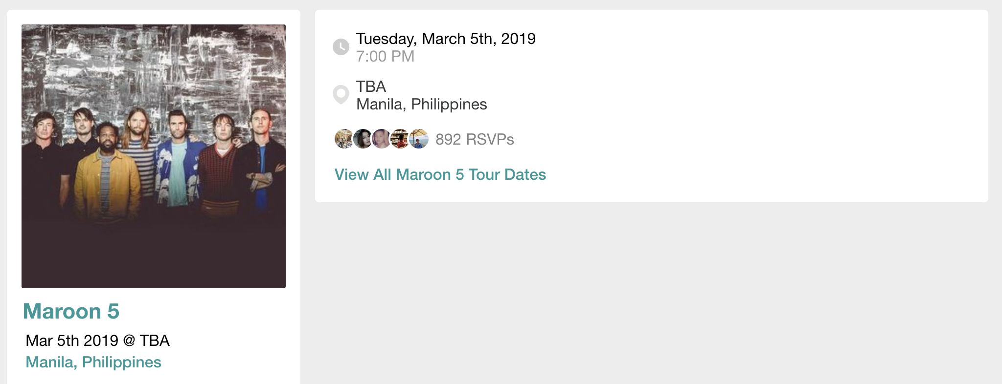 A screenshot of Maroon 5's concert in Manila 2019 details.